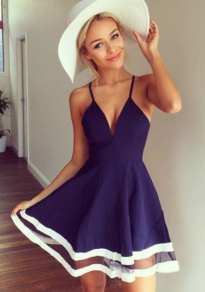 dark blue plunging neckline skater mini dress