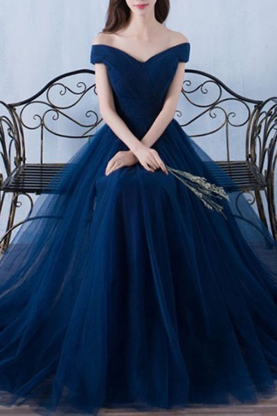 deep blue chiffon off the shoulder evening gown dress