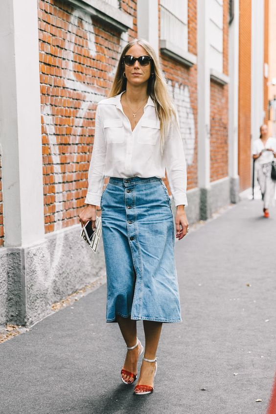 denim midi skirt classics