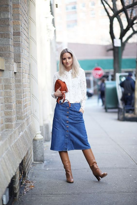 denim midi skirt lace blouse