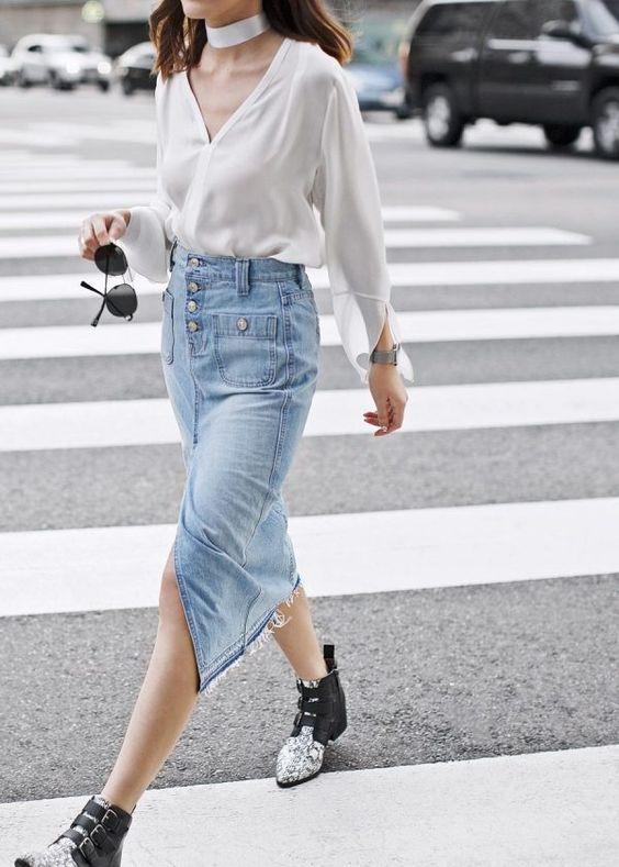 denim midi skirt satin cutout blouse