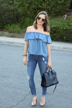 denim off the shoulder blouse with blue cuffed skinny jeans