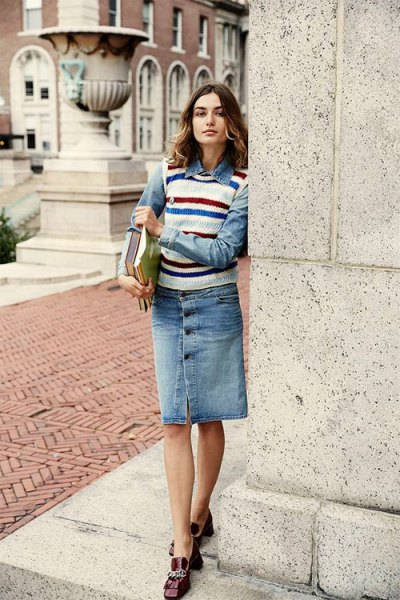 denim skirt white sweater vest red and blue stripes