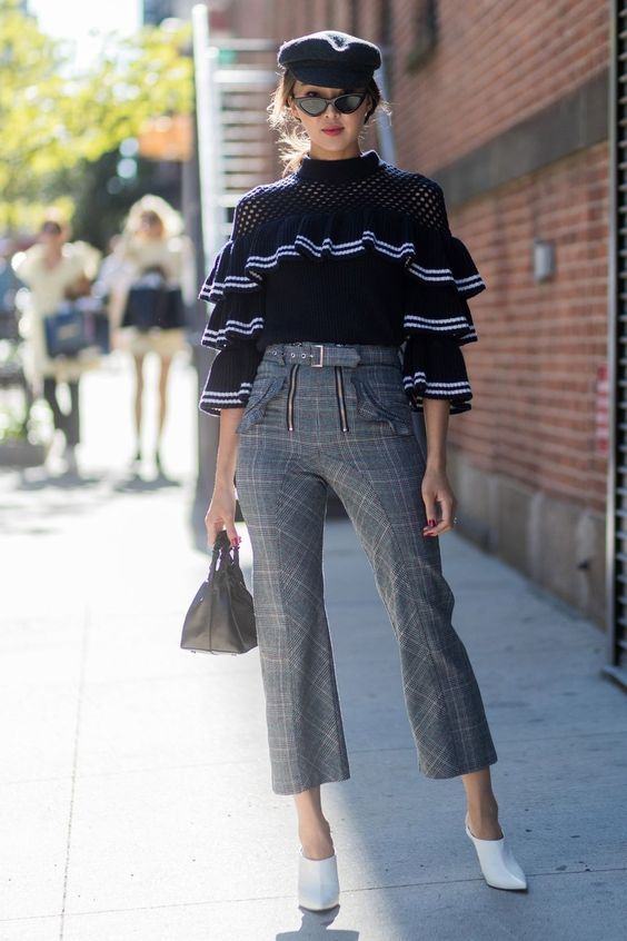 ruffle sleeve blouse knit plaid