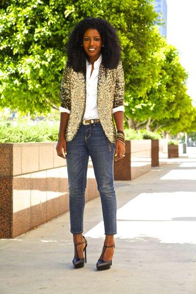 gold half sleeve blazer with white button up shirt