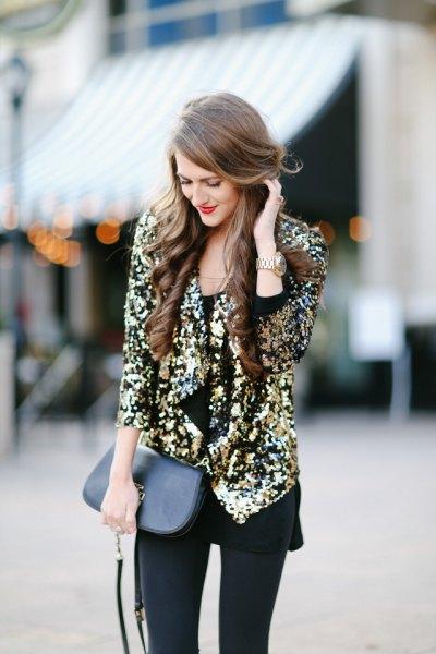 gold sequin blazer with black long blouse leggings