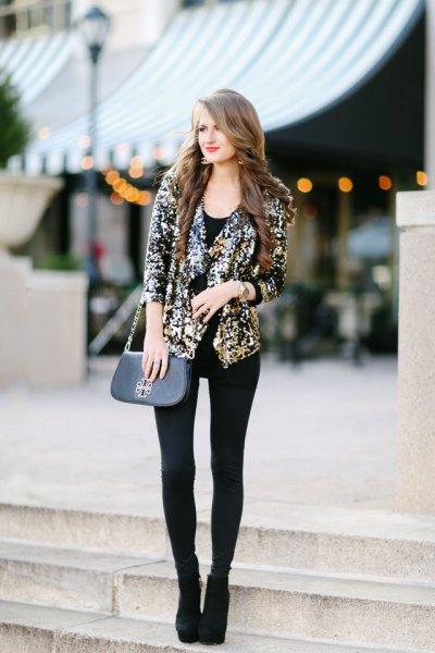 gold sequin blazer with black long vest top leggings