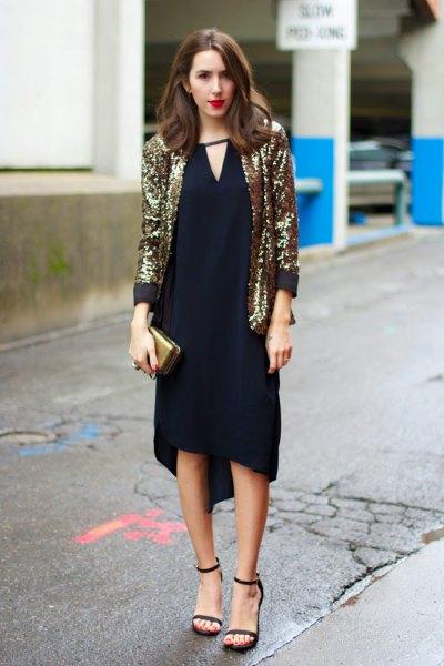 gold sequin blazer with black shift midi dress