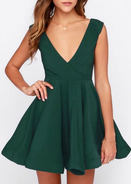 green deep v neck skater cocktail dress