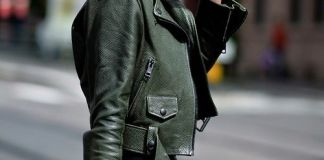 green leather jacket retro