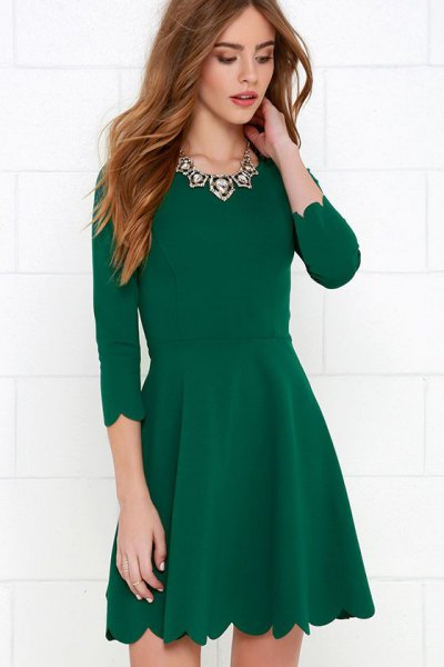 green scalloped hem three quarter sleeve skater cocktail dress
