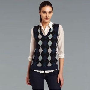 grey and black diamond patterned sweater vest pale pink shirt