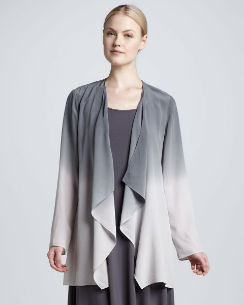 grey and white draped silk jacket with shift dress