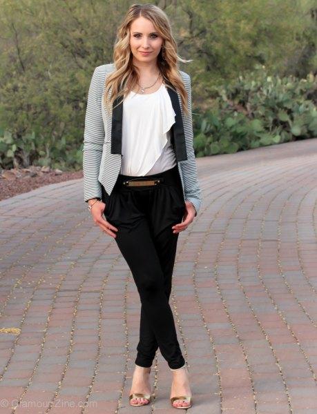 grey blazer black twill skinny pants