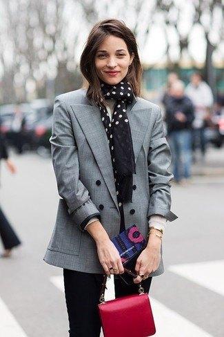 grey blazer with black and white polka dot scarf