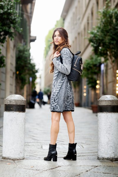 grey cable knit sweater dress black heeled ankle boots