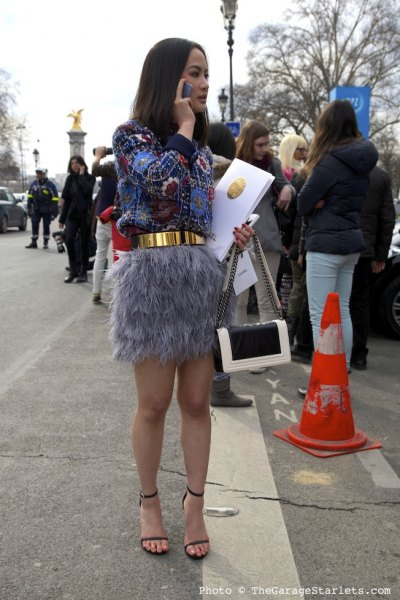 grey feather skirt blue and black printed sweatshirt