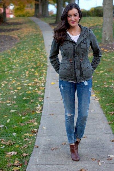 grey jacket blue ripped boyfriend jeans