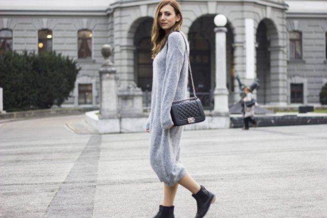 grey long fuzzy sweater dress with black ankle boots