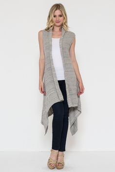 grey long vest white tank top black skinny jeans
