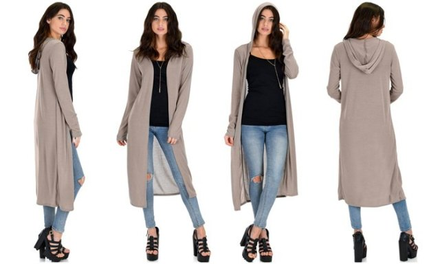 grey longline hooded cardigan with black vest top light blue skinny jeans