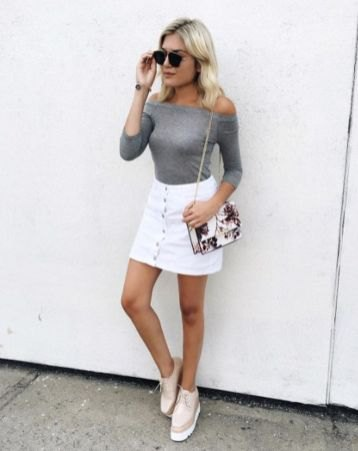 grey off the shoulder sweater with white denim skirt