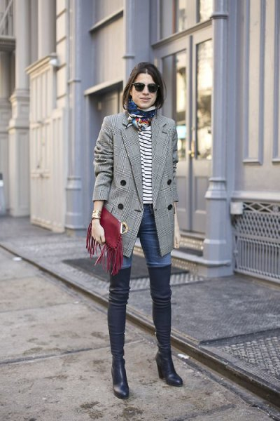 grey plaid double breasted blazer with white and black striped tee and boots