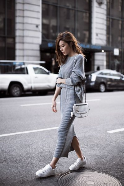 grey ribbed maxi sweater dress with white sneakers