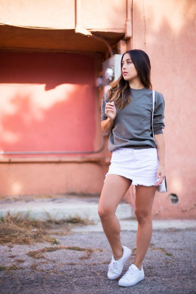 grey sweater with white mini skirt