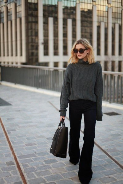 grey turtleneck chunky knit sweater black flared pants