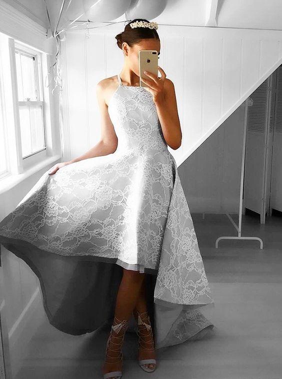 high low prom dress grey