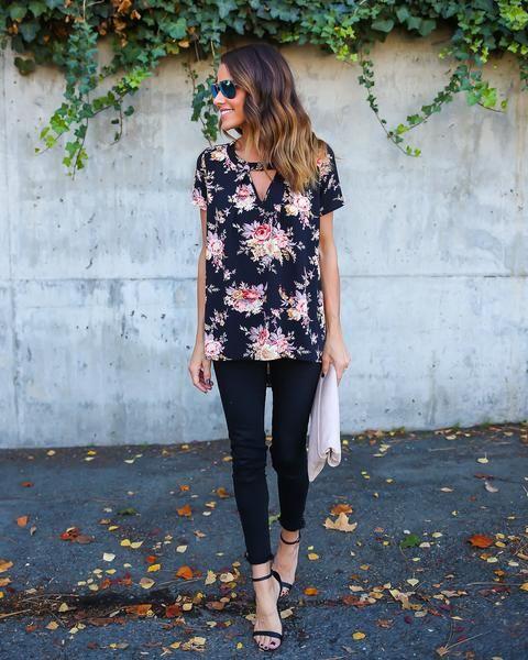 keyhole shirt floral shirt