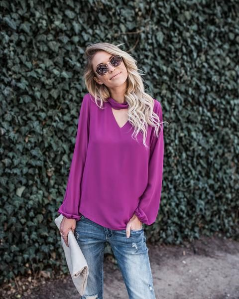keyhole shirt purple