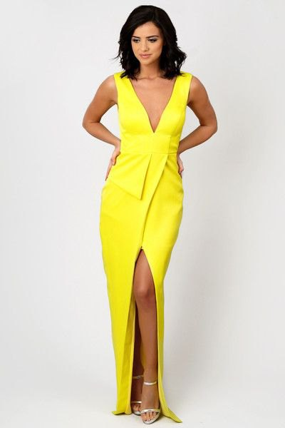 lemon yellow low cut high split maxi wrap dress