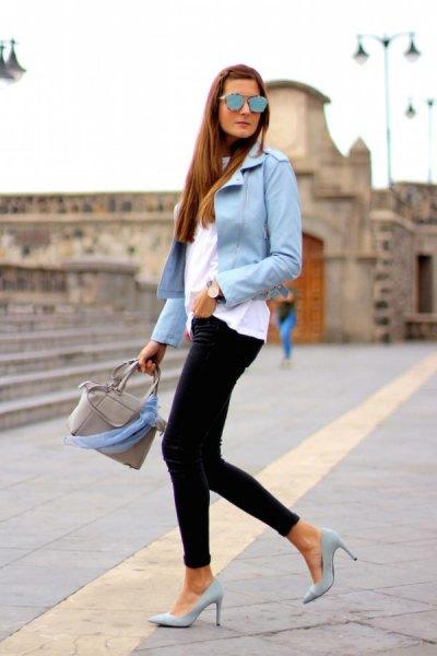 light blue jacket with black skinny jeans pink heels