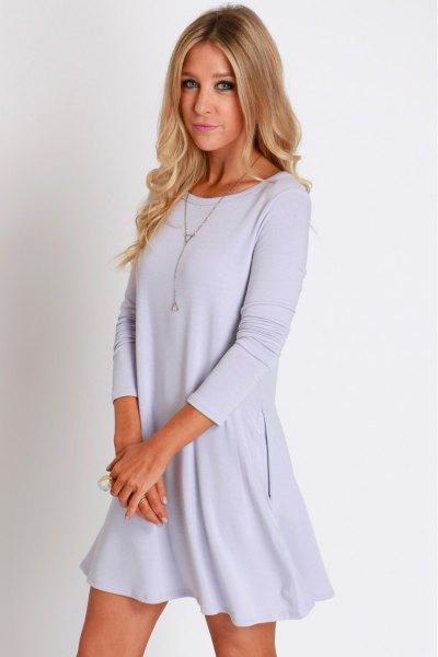 light blue long sleeve swing dress
