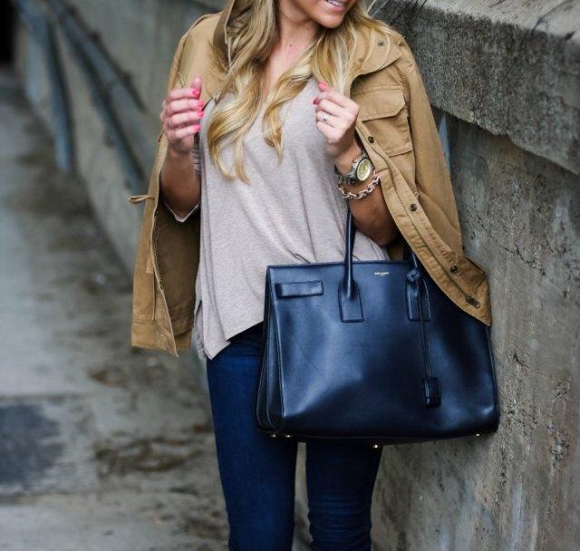 light brown jacket grey tee dark blue skinny jeans