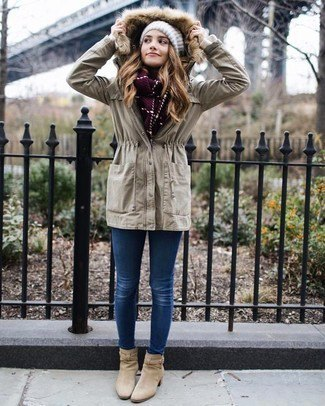 light grey anorak jacket with faux fur hood