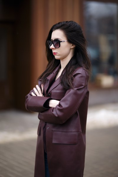 long black leather coat with shift dress