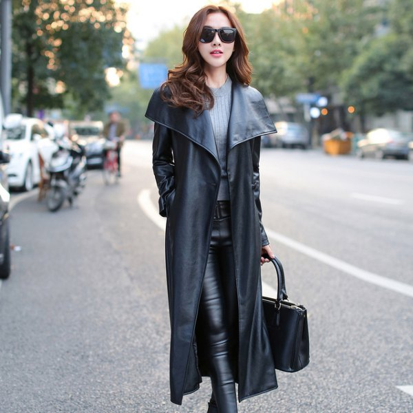 long coat with grey ribbed sweater black leather pants