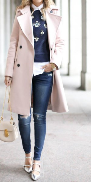 long wool coat embroidered navy sweater