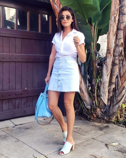 mini skirt with white short sleeve shirt