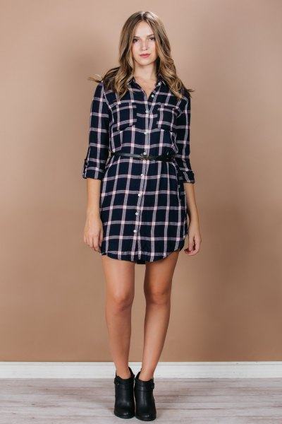 navy and white plaid flannel shirt dress leather ankle boots