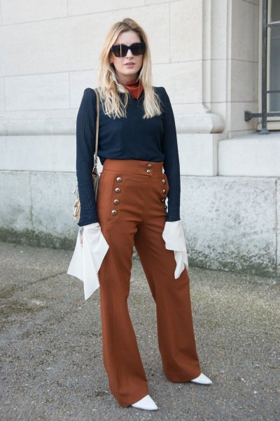 navy blouse with red sailor pants