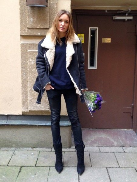 navy jacket with dark blue sweater skinny jeans