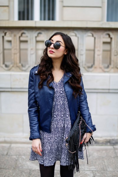 navy leather jacket with black tribal printed chiffon mini dress