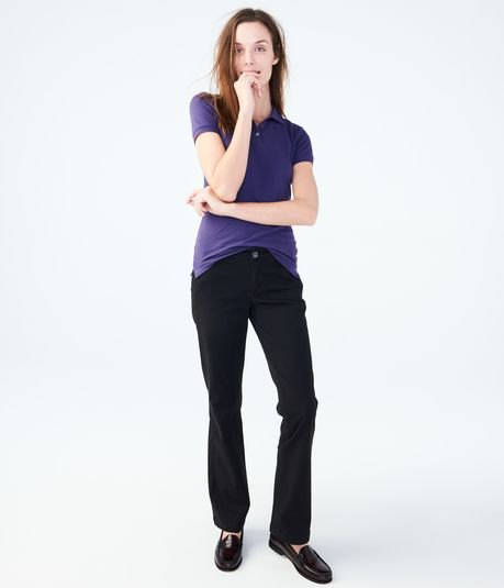 navy t shirt black flared twill pants
