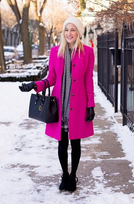 neon pink long wool coat black sweater plaid mini skirt