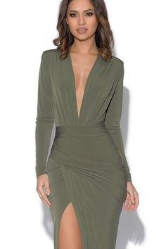 olive green long sleeve high split wrap dress