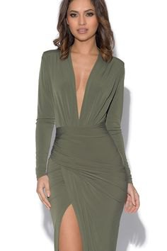 olive green long sleeve high split wrap dress